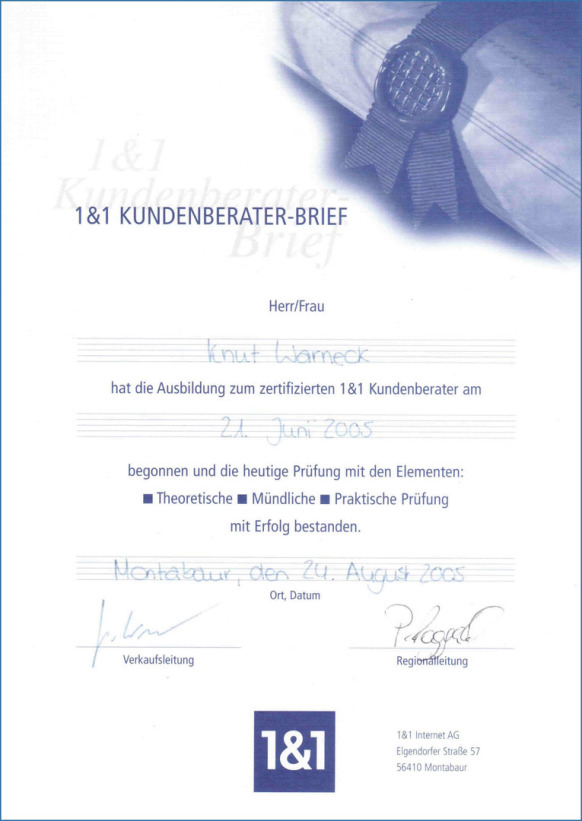 [ Original 1&1 Kundenberater-Brief von 2005 ]