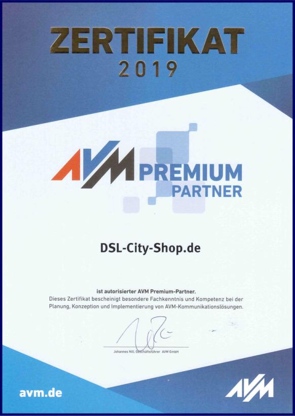 [Original AVM Premium-Partner Zertifikat 2017 ]