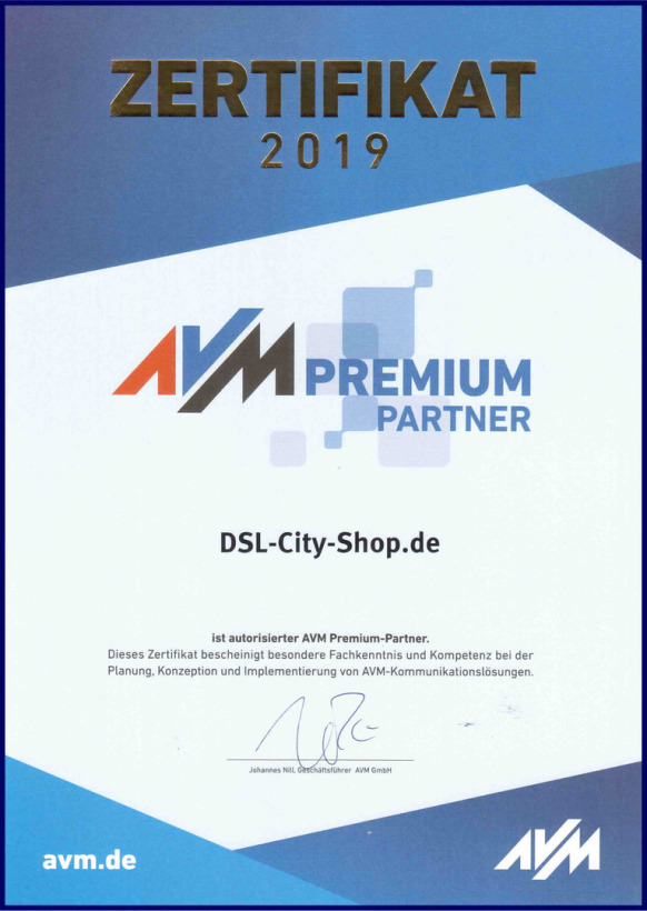 [Original AVM Premium-Partner Zertifikat 2018 für DSL-City-Shop.de ]