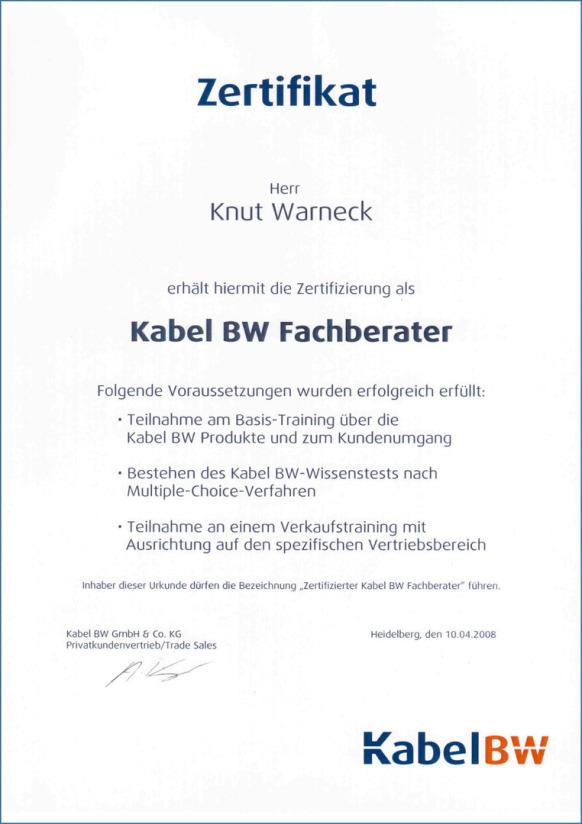 [Original Kabel-BW Fachberater Zertifikat von 2008 ]