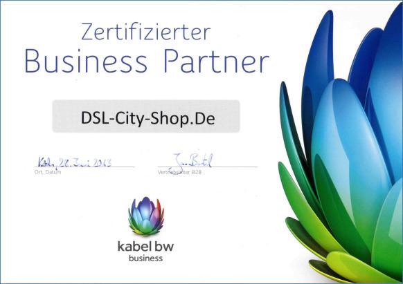 [ Original Kabel BW Business-Partner Zertifikat von 2013 ]