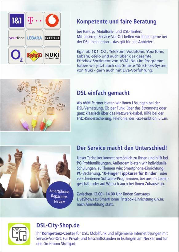 DSL-City-Shop.de - Ihr Kompetenz-Center für DSL, Mobilfunk und allgemeine Internetlösungen mit Service-Vor-Ort: Für Privat- und Geschäftskunden