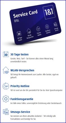 NEU: 1&1 Service-Card – in allen DSL-Tarifen inklusive