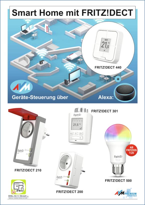 Einrichtung und Steuerung von Smart Home mit FRITZ!Dect über den FRITZ!DECT 440 oder auch über Alexa möglich - einfach im Laden vorbeikommen und sich in der Praxis vorführen lassen!
