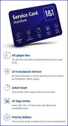 NEU: 1&1 Service Card – in allen Mobilfunk-Tarifen inklusive